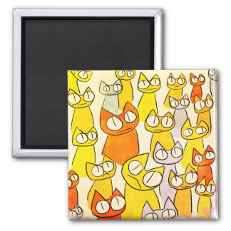 Orange Staring lot Cats Magnet
