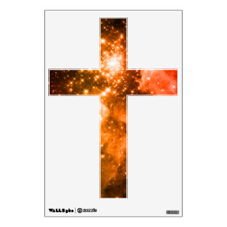 Orange Stars Cross Wall Sticker