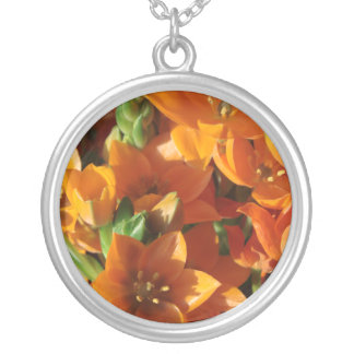 Orange Stars Round Pendant Necklace
