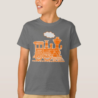 Orange steam loco train custom name kids t-shirt