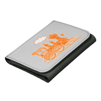 Orange steam train engine name boiler plate wallet