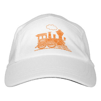 Orange steam train personalized hat