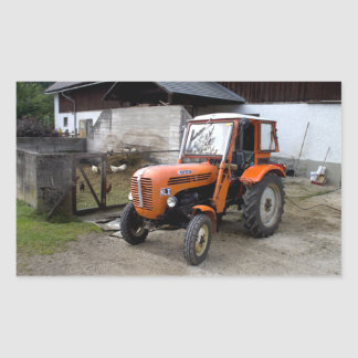 Orange Steyr Tractor KL II Rectangular Sticker