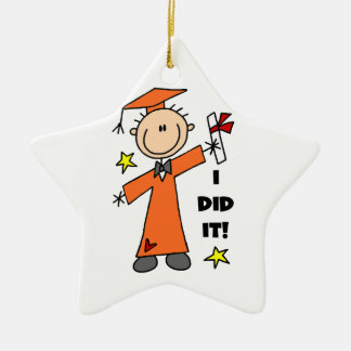 Orange Stick Figure Boy Graduate Ornament
