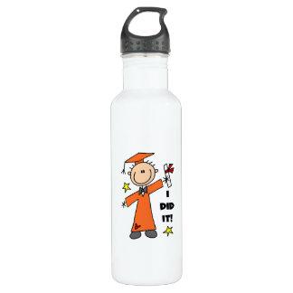 Orange Stick Figure Boy Graduate 24oz Water Bottle