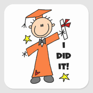 Orange Stick Figure Boy Graduate Stickers
