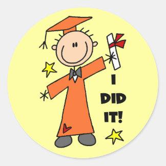 Orange Stick Figure Boy Graduate Round Stickers