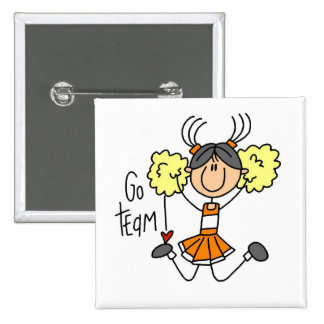 Orange Stick Figure Cheerleader t-shirts and Gifts Pin