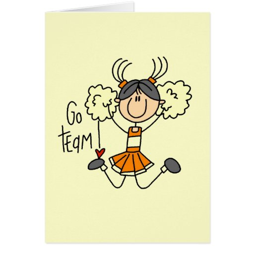 Orange Stick Figure Cheerleader t-shirts and Gifts Greeting Cards