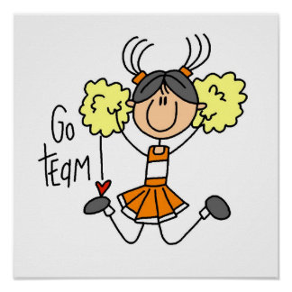 Orange Stick Figure Cheerleader t-shirts and Gifts Poster