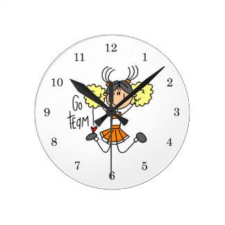 Orange Stick Figure Cheerleader t-shirts and Gifts Round Clock