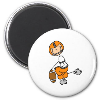 Orange Stick Figure Football Tshirts and Gifts 2 Inch Round Magnet