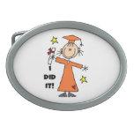 Orange Stick Figure Girl Graduate Belt Buckle