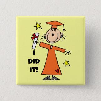 Orange Stick Figure Girl Graduate Button