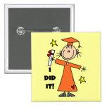 Orange Stick Figure Girl Graduate Buttons