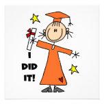 Orange Stick Figure Girl Graduate Personalized Invitation