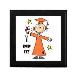 Orange Stick Figure Girl Graduate Jewelry Box