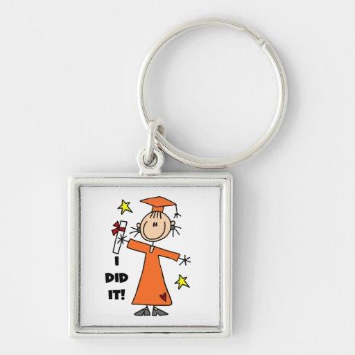 Orange Stick Figure Girl Graduate Key Chain
