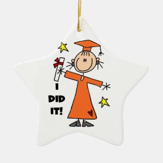 Orange Stick Figure Girl Graduate Christmas Tree Ornament