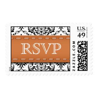 Orange Stitched Damask RSVP Postage Stamps