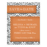"Orange Stitched Damask Save the Date Announcements 4.25"" X 5.5"" Invitation Card"