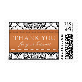 Orange Stitched Damask Thank You for Your Business Stamp
