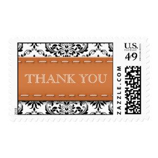 Orange Stitched Damask Thank You Postage Stamps