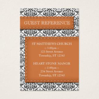Orange Stitched Damask Wedding Guest Reference Business Card