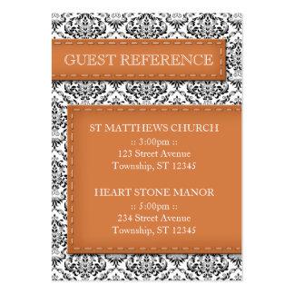 Orange Stitched Damask Wedding Guest Reference Large Business Card