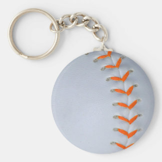 Orange Stitches Softball / Baseball Basic Round Button Keychain