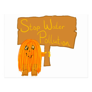 orange stop water pollution post cards