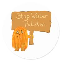 orange stop water pollution round sticker