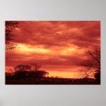 Orange Stormy Sky Posters