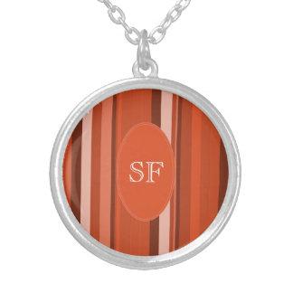 Orange Stripe Monogram Silver Plated Necklace