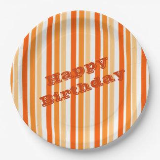 Orange Stripe Paper Guest Plates