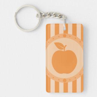 Orange Striped Apple Keychain