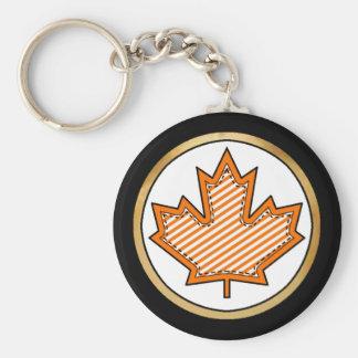 Orange Striped  Applique Stitched Maple Leaf Basic Round Button Keychain