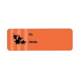 Orange Striped bats Cake Gift Tag Label label