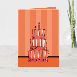 Orange Striped bats Cake Halloween Card card