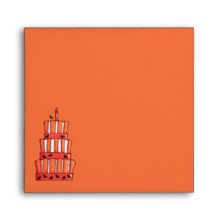 Orange Striped bats Cake Invitation Envelope