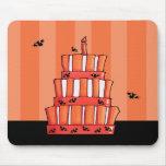 Orange Striped bats Cake Mousepad
