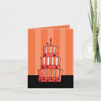 Orange Striped bats Cake Note Card card