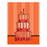 Orange Striped bats Cake Postcard