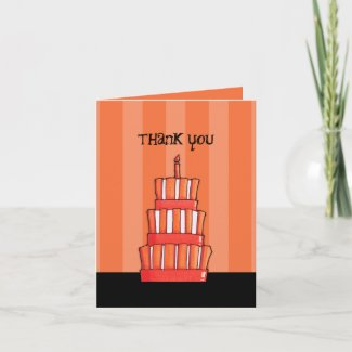 Orange Striped Cake Thank You Note Card card