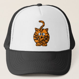 Orange Striped Cartoon Tiger Trucker Hat