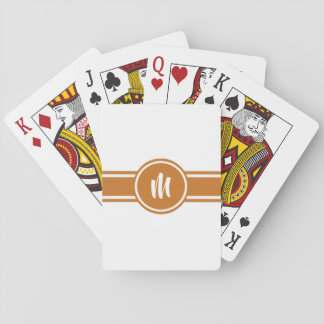 Orange Striped Customizable Personalized Monogram Playing Cards