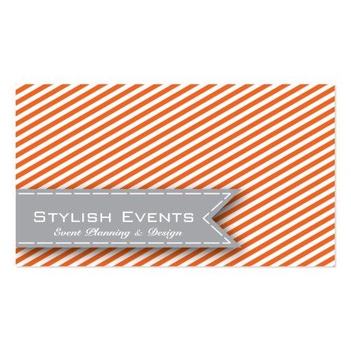 Orange Striped Event Planner Business Card