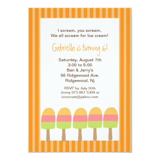 Orange Striped Ice Pops Birthday Invitation