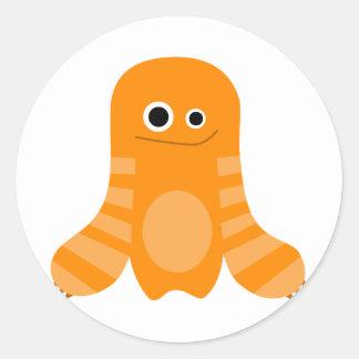 Orange Striped Monster Round Sticker