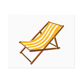 orange striped wooden beach chair.png stretched canvas print